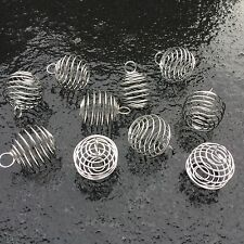 10 x Silver Plated Large Spiral Cages 25mm Tumble stone Gemstones Caged Pendants