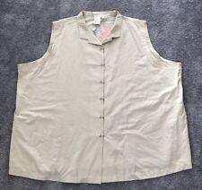 NEW Ulla Popken Beige Button Down Sleeveless Shirt/Top. 5X. ULA 325