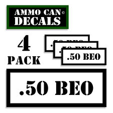 """.50 BEO Ammo Can 4x Labels Ammunition Case 3""""x1.15"""" stickers decals 4 pack WT"""