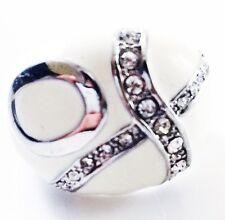 USA RING Rhinestone Crystal Fashion Gemstone Silver White SIZE-8 QUEEN 2