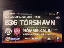 Ticket B36 TORSHAVN - NOMME KALJU 2017/18 Europa League Faroe Islands Estonia