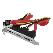 Dual SATA to 2 Ports eSATA + 4 Pin IDE Power PCI Bracket Slot Cable - UK seller