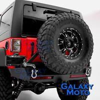 Crawler Rear Bumper+Tire Carrier+2xLED Tailgate Light fit 07-18 Jeep JK Wrangler