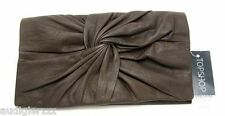 Topshop Real Leather Ruched Twisted Dark Brown Wallet nwt
