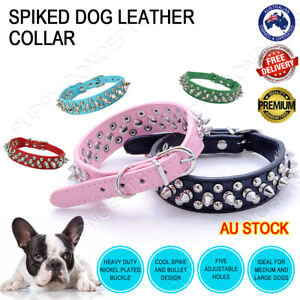 Leather Collar Fashion Spike Spiked Rivet Stud Studded Large Pet Dog Puppy 3cm