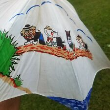 Vintage 1940-50's Child Doll Size Umbrella Puppies Playing - Japan