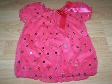 Toddler Size 2T Tempted Girls Coral Bubble Hem Dress Metallic Silver Flowers EUC