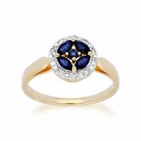 Gemondo 9ct Yellow Gold Sapphire Cluster and Diamond Halo Ring