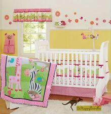Baby Girls 9 Pieces Cotton Nursery Bedding Crib Cot Sets Jungle Animals