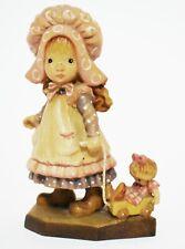 "Anri ""Playtime"" 4"" Wood Figurine Girl Pulling Wagon & Doll By Sarah Kay ~ Mint"