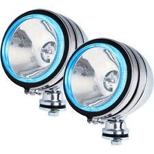 2 X WHITE SPOT LIGHT BLUE RING LED CHROME ANGEL EYE FOGLIGHT CAR 12V 5 INCH