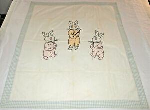 Vintage Child's Quilt 3 Bunnies 34 X 42