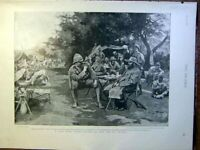 Original Old Antique Print Croinje Small British Officers Boer War Africa 1900