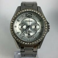 Fossil Womens ES3202 Silver Crystal Multi Dial Stainless Steel Quartz Wristwatch