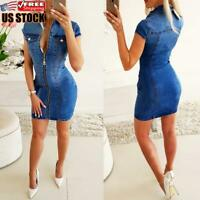 Women Zip Up Short Sleeve Bodycon Dress Ladies Club Party Mini Denim Jeans Dress
