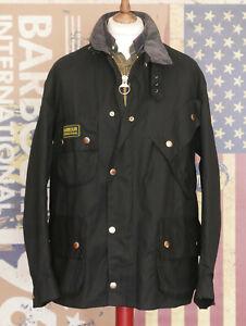 £249 Mens Barbour A7 International black waxed biker jacket C46 46 48 XXL XXXL