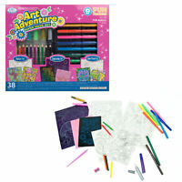38 PIECE SET KIDS CHILDRENS ART FUN PROJECTS TOY COLOUR MARKER PENCIL ENGRAVING