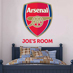 Arsenal Wall Sticker Personalised Name & Crest Mural + Arsenal Decal Sticker Set