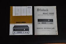 Manuale ORIGINALE McIntosh MAC 1900 solid state am-fm/fm stereo receiver