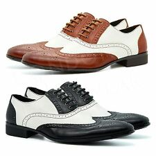 New Mens Two Tone Oxford Brogues Lace Up Formal Gangster Shoes Wingtip Spats UK