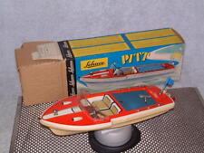VINTAGE SCHUCO CLOCKWORK PITT BOAT. WORKING & 100% COMPLETE W/BOX. TIN DECK!!