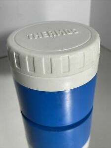 Thermos Blue & White Lid Plastic Vintage Lunch Soup Insulated Jar Model #1155/4