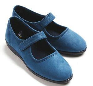 Ladies moccasin blue red top  quality Indoor Outdoor comfort Slipper Sizes 6 7