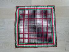 "Emanuel Ungaro Vtg Houndstooth Silk Scarf 22.5"" Square Red Green Black Ivory EUC"