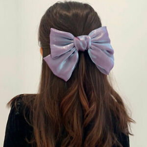 Ladies' Pearly Shiny Big Bow Hair Clip Solid Color Girl Hairpin Hair Accessories
