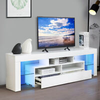 "63"" TV Stand Unit Cabinet with LED Shelves 2 Drawer Console Furniture White"