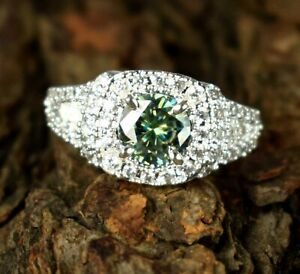 3.97 Ct Green Diamond Solitaire Halo Ring Great Brilliance