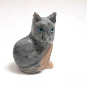 chat en stéatite miniature de collection, cat, poes,chat en pierre   TP12-05