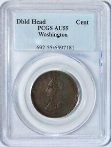Colonial Double Head Cent Washington Cent PCGS AU55