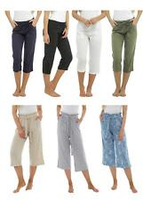 Womens Undercover Linen Summer Cropped Trousers Paperbag or Ribbed Stretch Waist