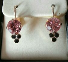 Mariana Jewellery drop earrings Pink 18ct Rose Gold over SS Swarovski Crystal