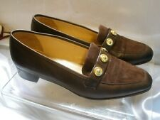 PARLANTI~Dark Brown Leather Classic Pumps Low Heels Women 37 1/2~ MADE IN ITALY