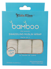 3 Sets KIDZ KISS 100% Bamboo Pack of 3 Double Layer Pre-washed Swaddling Muslin