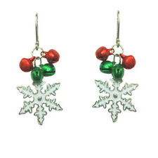 KIRKS FOLLY JINGLE BELLS SNOWFLAKE LEVER BACK PIERCED EARRINGS silvertone