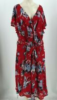 MODCLOTH - WOMEN'S 4X - RED FLORAL V NECK CAP SLEEVE BELTED DRESS