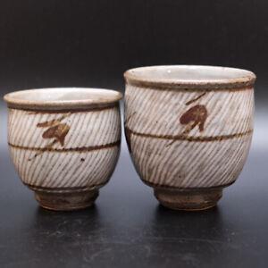 0716a Tatsuzo Shimaoka Japanese Mingei Mashiko pottery Yunomi Tea Cup Set
