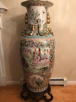 "Extra Large Vintage Famille Rose Chinese Porcelain Floor Vase 47"" Wooden Stand"