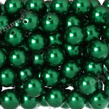 20mm - 12pcs Emerald Green Pearl Beads Chunky Bubble Gum Gumball Round Shiny