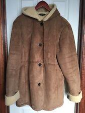 Lands End XL 18-20 Coat Faux Suede Shearling Sherpa Hooded Brown Fleece Lined