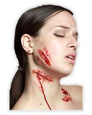 Slit Neck Latex Appliance Halloween Knife Cut Flesh Wound Prosthetic Make-up