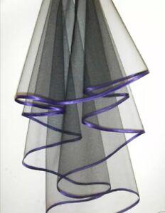 2 Tier Black & Purple Satin Trim Bridal Veil / Halloween