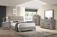 NEW Rustic Gray Brown 5PC Queen King Bedroom Set Modern Furniture Bed/D/M/N/C