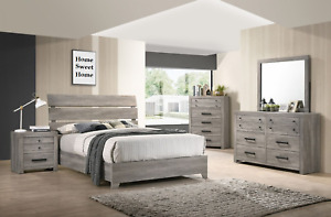 NEW Rustic Gray Brown 5PC Queen King Bedroom Set Modern Furniture Bed/D/M/N/C