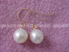 ROUND WHITE 9-10MM AAA SOUTH SEA PEARL DANGLE EARRING 14K YELLOW GOLD JE140