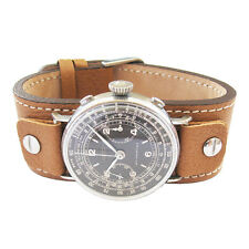 18mm Fluco Vigo German Mens Tan Riveted Cuff Leather Pilot Watch Band Strap