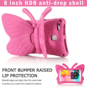 Butterfly Shockproof Stand Case Kids Silicone Cover For Amazon Fire HD 8 Tablet